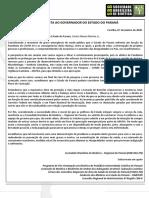 CARTA ABERTA AO GOVERNADOR DO PARANÃ_ aprovada 07.12.2020