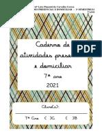 CADERNO DE ATIVIDADES PRESENCIAL  E DOMICILIAR- 7º ANO