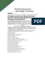 reglamento interior de la secretaría de trabajo y previsión social DOF