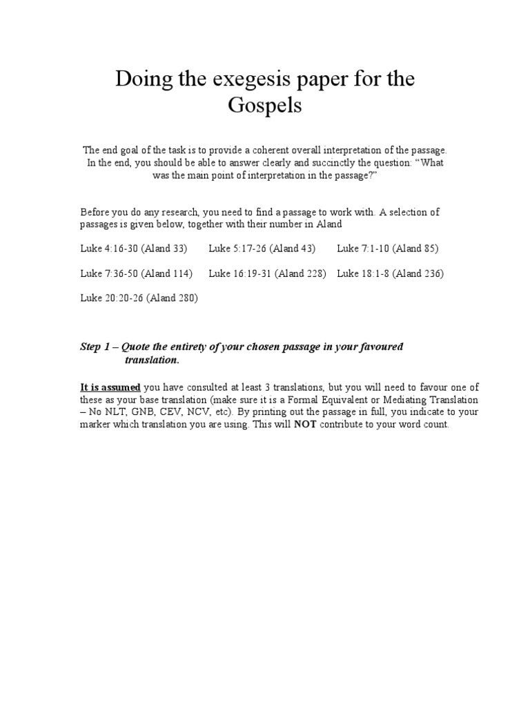 Doing the Exegesis Paper for the Gospels | Gospel Of Mark