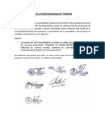 ACTA DE DISPONIBILIDAD DE TERRENO
