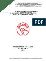 Manual de Operacion y Mantenimiento de La Ptar