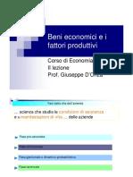 II - Beni Economici e Fattori Produttivi