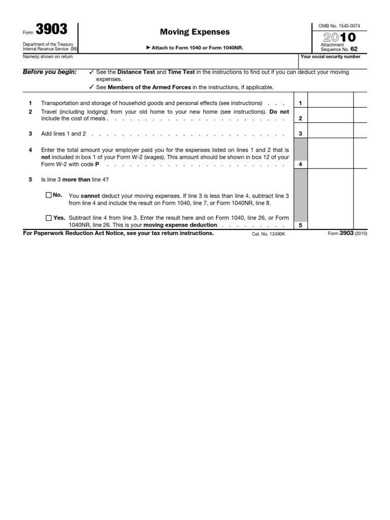 IRS Form-3903 | Irs Tax Forms | Expense