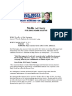 Media Advisory Steve Weber, Will County Treasurer Endorsement Of Matt Harrington