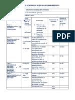 Calendario general de actividades