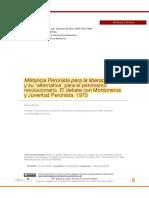 """Stavale, M.(2018). Militancia Peronista Para La Liberación y Su """"Alternativa"""" Para El Peronismo Revolucionario. El Debate Con Montoneros y Juventud Peronis"""