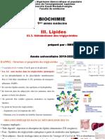 C. Biochimie III. Lipides (III.3. Métabolisme des TG)