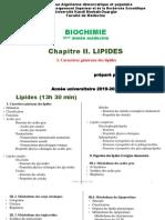 C. Biochimie III. Lipides (I. Caractères généraux des lipides)