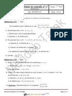 Devoir de Contrôle N°3 - Math - 3ème Mathématiques (2014-2015) Mr Meddeb Tarek