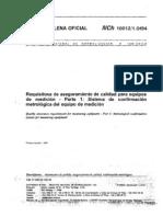 NCh ISO 10012[1].1 Requisitos aseguramiento calidad equipos medición Parte I