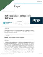 Schopenhauer critique de Spinoza