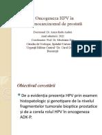 Oncogeneza HPV în Adenocarcinomul de prostată