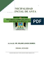 39. REGLAMENTO SOBRE VIGILANCIA Y CONTROL SANITARIO DE ALIMENTOS Y BEBIDAS EN LA MUNICIPALIDAD PROVINCIAL DE ANTA