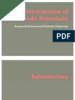 Determination of Electrode Potentials Oral Report