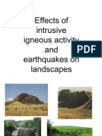Effects of intrusive volcanic activity & earthquakes on landscape