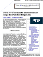 Recent Developments in the Thermomechanical Fatigue Life Prediction of Superalloys