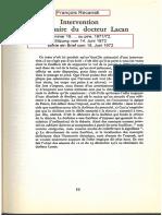 Recanati, Intervention parlé faite au séminaire du docteur Lacan