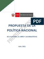 Prepublicación del proyecto de Política Nacional de la Lectura, el Libro y las Bibliotecas