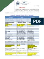 Circular on Academic Calendar for Winter 2010-11 Semester (Modified on 15th Dec. 2010)