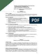 REGLAMENTO PARA OPTAR AL TITULO PROFESIONAL DE ARQUITECTO