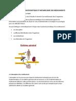 Pharmacocinétique et métabolisme des médicaments