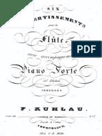 Op. 68   Six Divertissements pour la Flute avec accompagnement de Piano Forte ad libitum.
