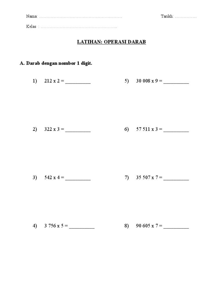 Latihan Matematik Darab