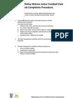 Whitley Wolves JFC - Complaints Procedure