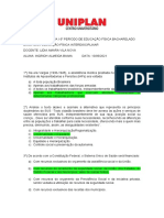 ATIVIDADE AVALIATIVA ED FÍSICA INTERDISCIPLINAR