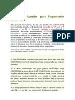 Termo de Acordo  para Pagamento de Dívida