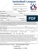 Brazos Basketball League Registration Form