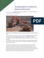 Perú en el Ránking de las 100 mejores empresas de América Latina