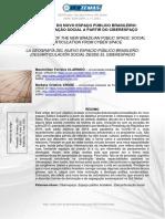 A Geografia Do Novo Espaço Público Brasileiro (Des)Articulação Social a Partir Do Ciberespaço
