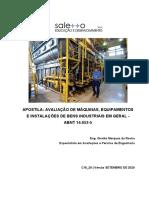 Avaliação de Máquinas, Equipamentos e Instalações de Bens Industriais.