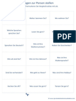 18 Karteikärtchen Fragen Zur Person Stellen A1