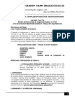 Modelo Demanda Laboral Impugnación Sanción Disciplinaria - Autor José María Pacori Cari