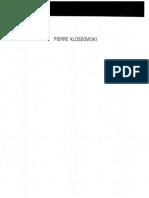 Pierre Klossowski - Anthologie Des Ecrits de Pierre Klossowski Sur L'Art