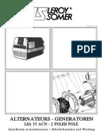 Réf. 3186-4.33 _ a - 11.99 ALTERNATEURS - GENERATOREN LSA 35 ACN - 2 POLES_POLE. Installation et maintenance _ Inbetriebnahme und Wartung