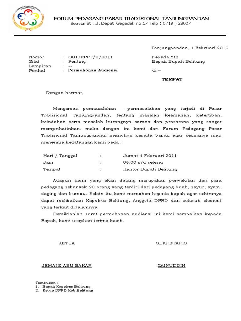 Surat Audiensi Ke Bupati