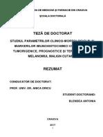 Studiul parametrilor clinico morfologici si al markerilor imunohistochimici cu implicatii tumorigenice prognostice si terapeutice in melanomul malign cutanat
