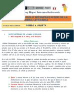 Ficha de Analisis Literario Romeo y Julieta