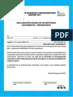 DECLARACION JURADA CICLO REGULAR  MENORES DE 18