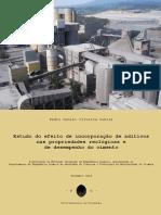 Estudo do efeito de incorporacao de aditivos nas propriedades reologicas e de desempenho do cimento