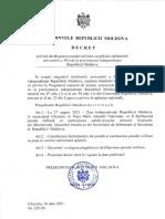 DECRET nr.125-IX din 16.07.2021 privind desfășurarea paradei militare cu prilejul sărbătoririi aniversării a 30-a de la proclamarea independenței Republicii Moldova