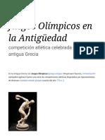 Juegos Olímpicos en La Antigüedad