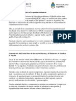 RDIF and Health Ministry of Argentina Statement 230721
