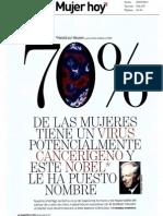 70% de las mujeres tiene un virus potencialmente cancerígeno y este nobel le ha puesto nombre