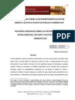 NOÇÕES GERAIS SOBRE AS INTERDEPENDÊNCIAS ENTRE DIREITO, GESTÃO E POLÍTICAS PÚBLICAS AMBIENTAIS