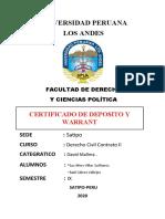 Certificado de Deposito y Warrant